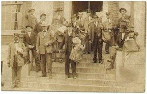 Mailmen Standing on the Steps of The new Postoffice in 1910