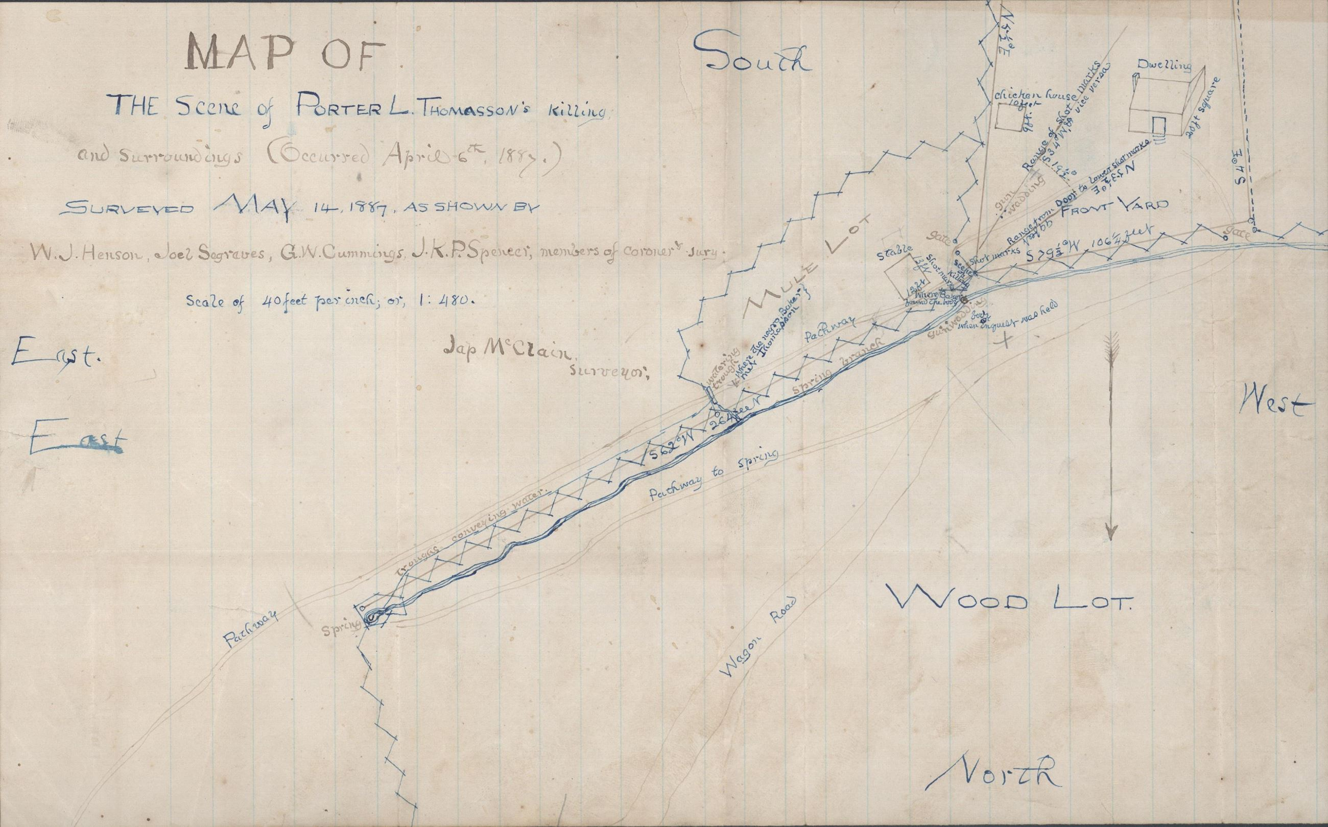 Map of Porter L. Thomasson Murder